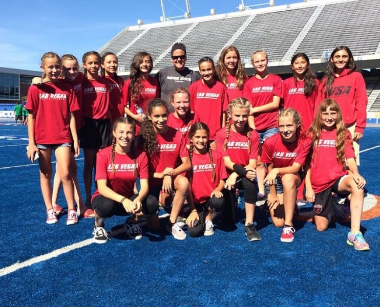LVPSA 03 Girls at Boise State University with Boise State University soccer coach